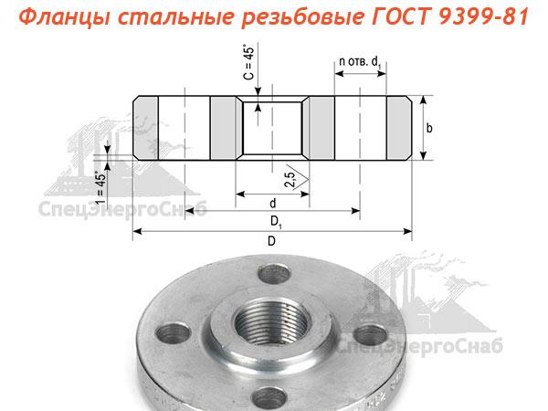 фланцы стальные резьбовые ГОСТ 9399-81
